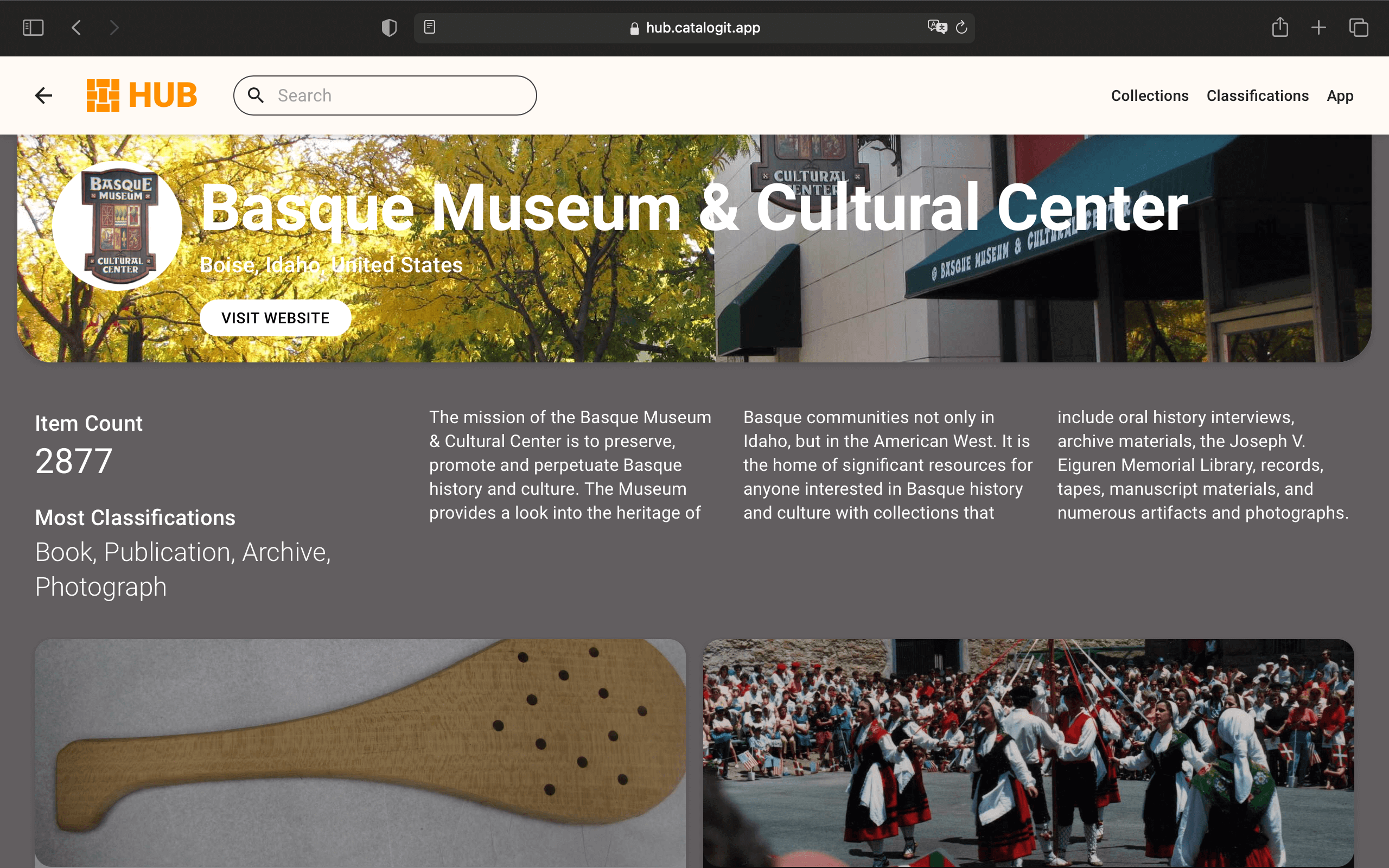 A screenshot of the Basque Museum and Cultural Society's HUB page.
