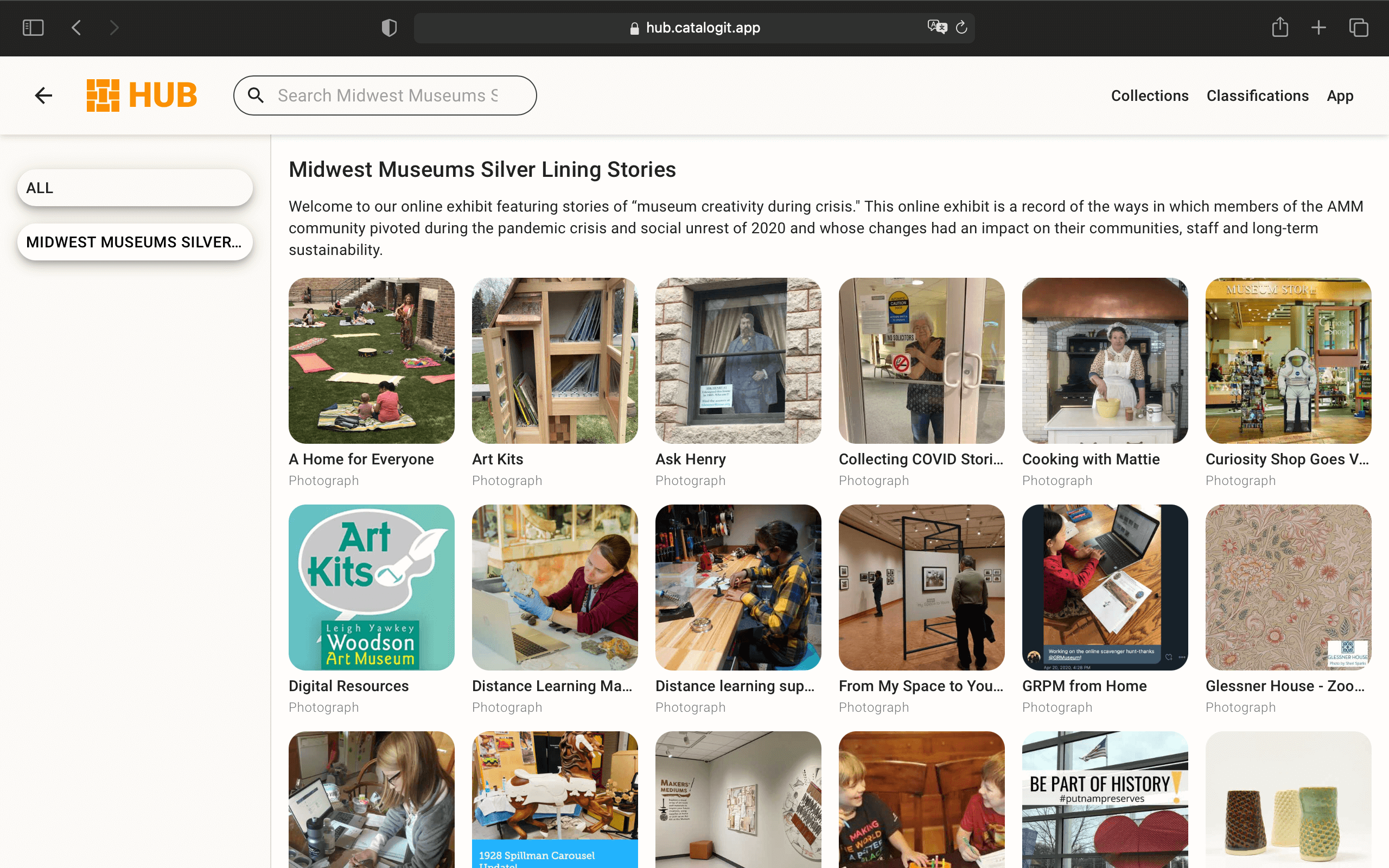 A screenshot of the Association of Midwest Museums' HUB page.