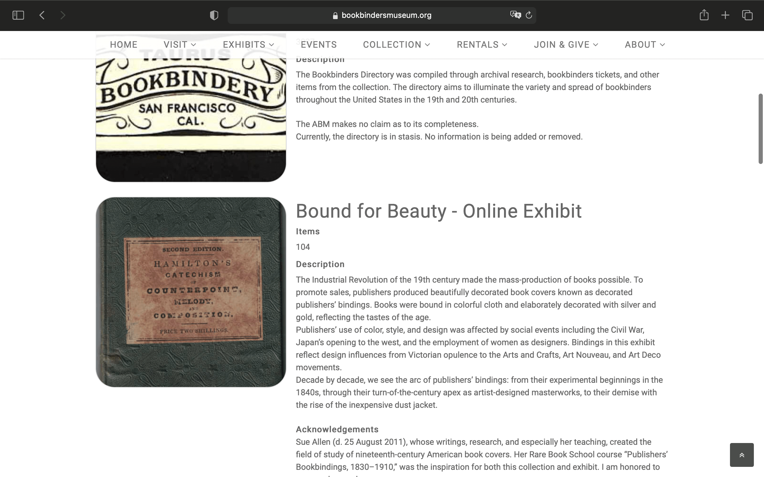 A screenshot of the American Bookbinders Museum HUB page.