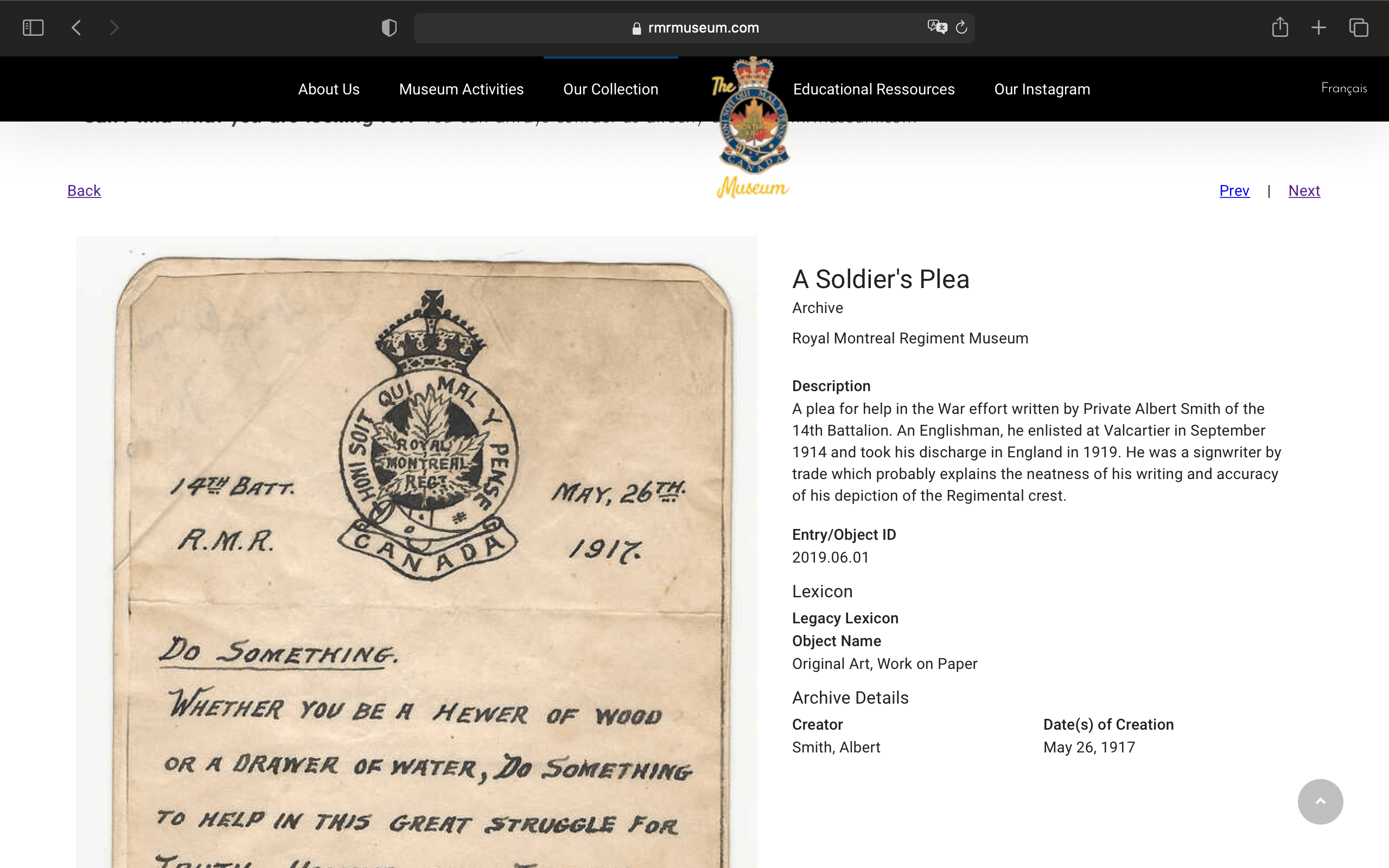 A screenshot of The Royal Montreal Regiment Museum's implementation of CatalogIt's WordPress plugins.