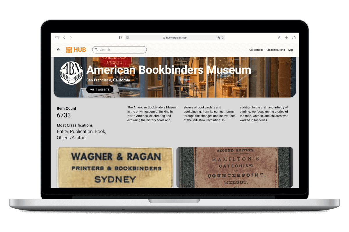 Laptop displaying The American Bookbinders' Museum HUB page