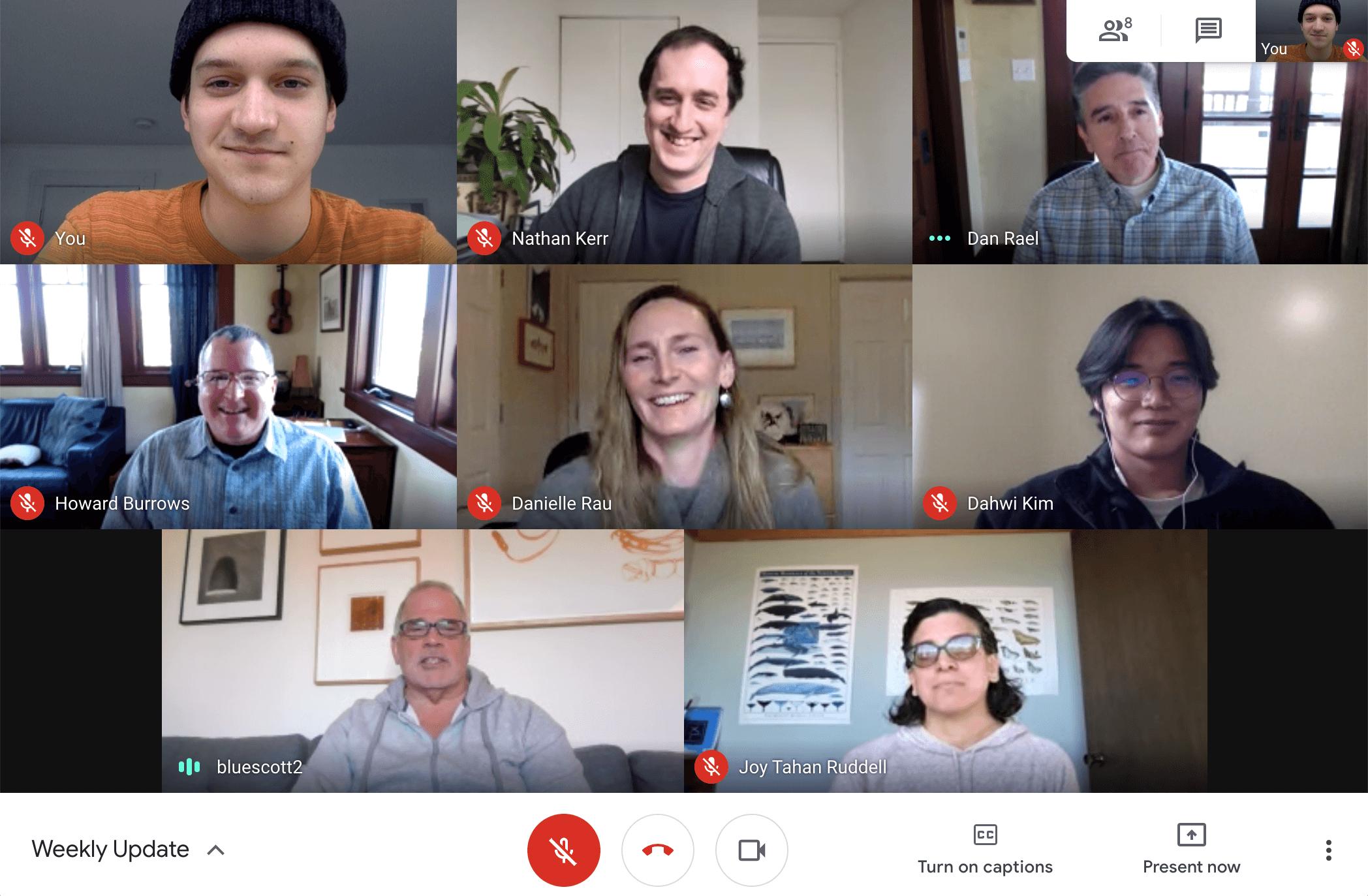 Screenshot of a CatalogIt team meeting