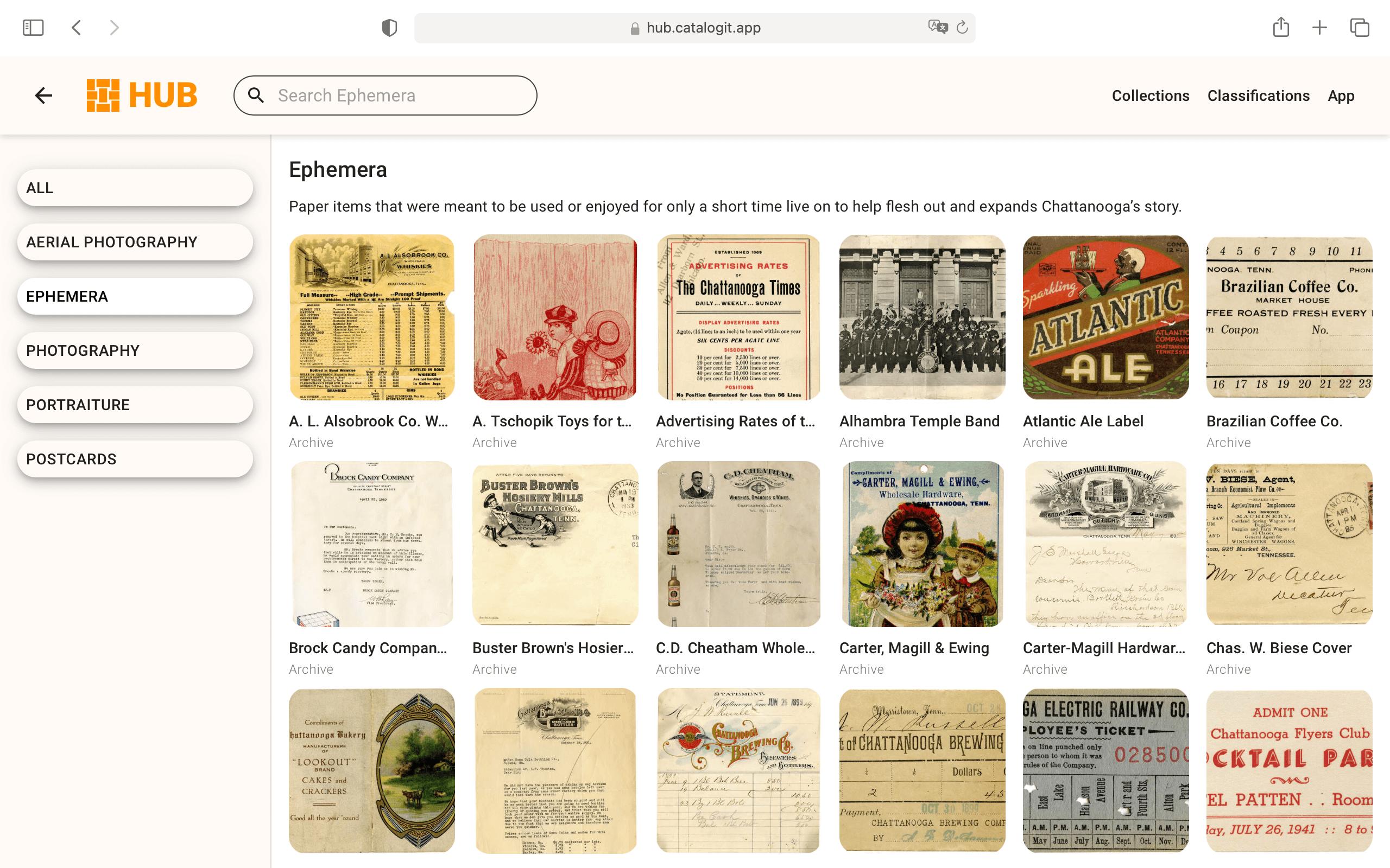 A screenshot of Picnooga's CatalogIt HUB page.