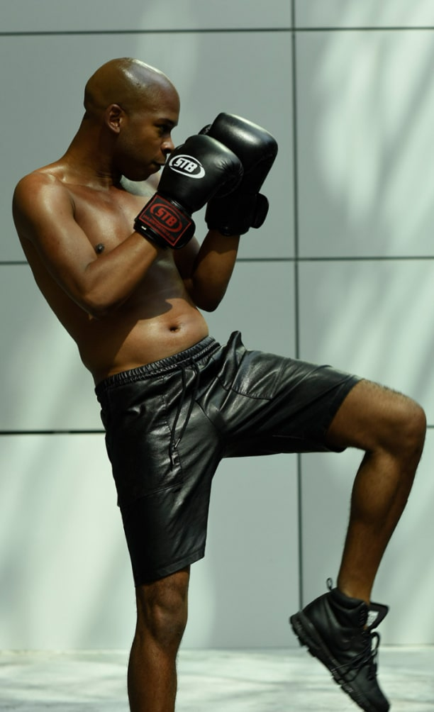 Clubsportive member boxing with gloves