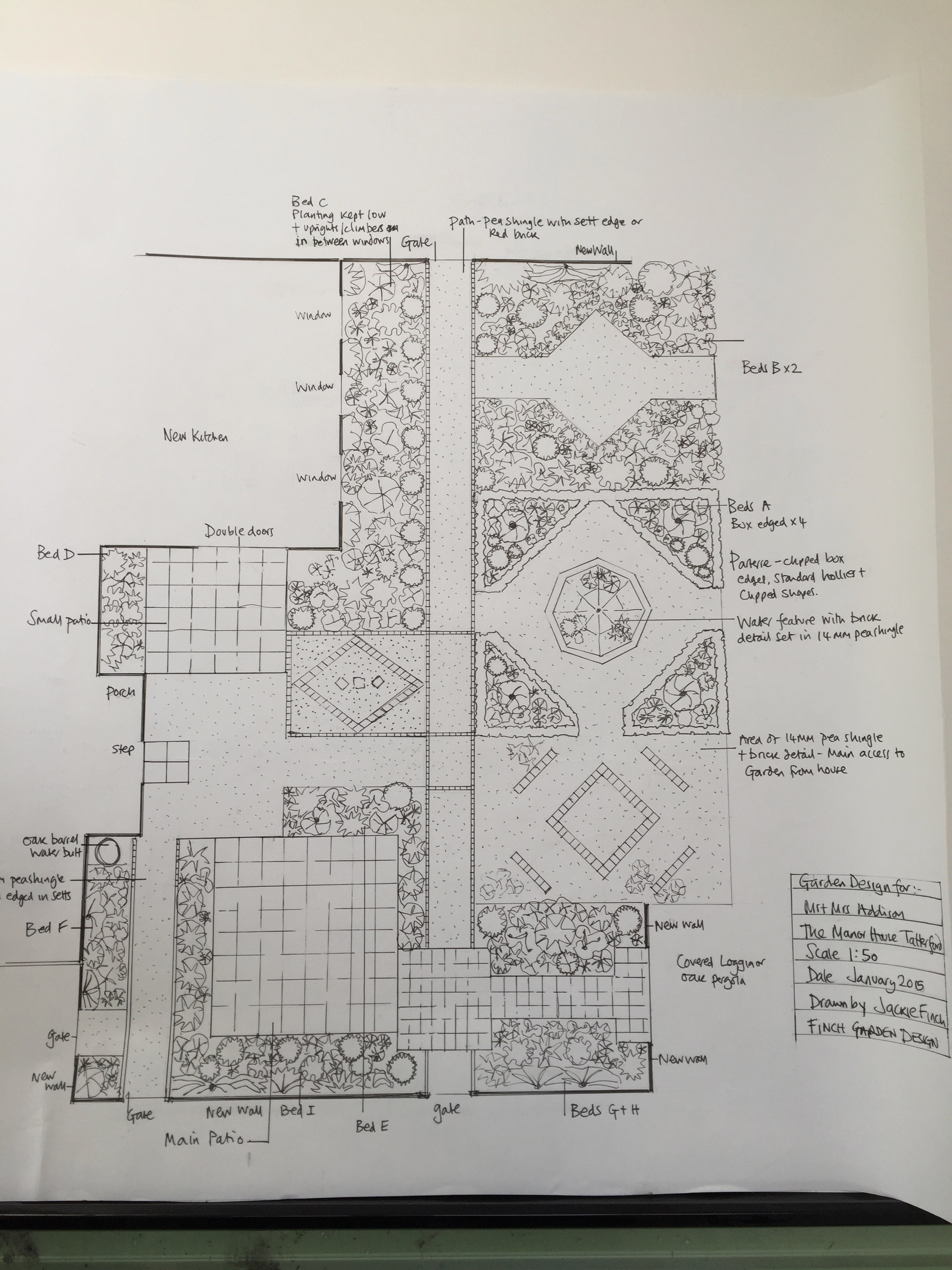 Garden design drawing. Garden design Norfolk. Hand drawn garden design