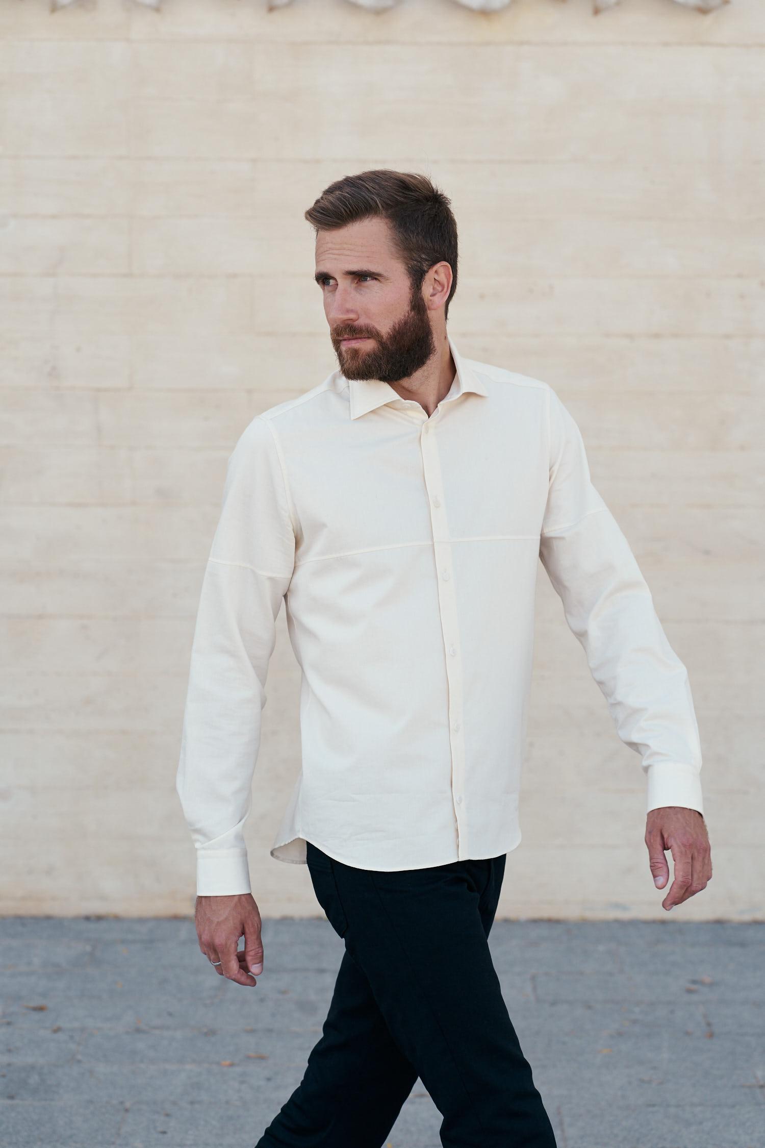 chemise en coton biologique couleur écrue fabriquée en France