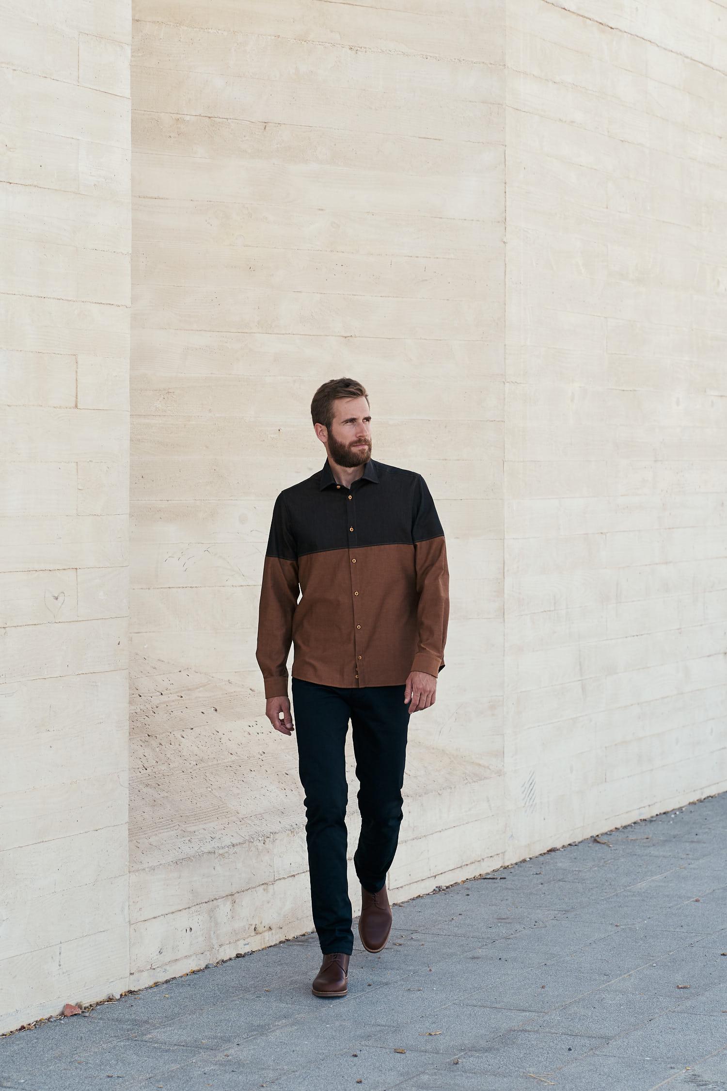 chemise en coton biologique couleur biscotte fabriquée en France