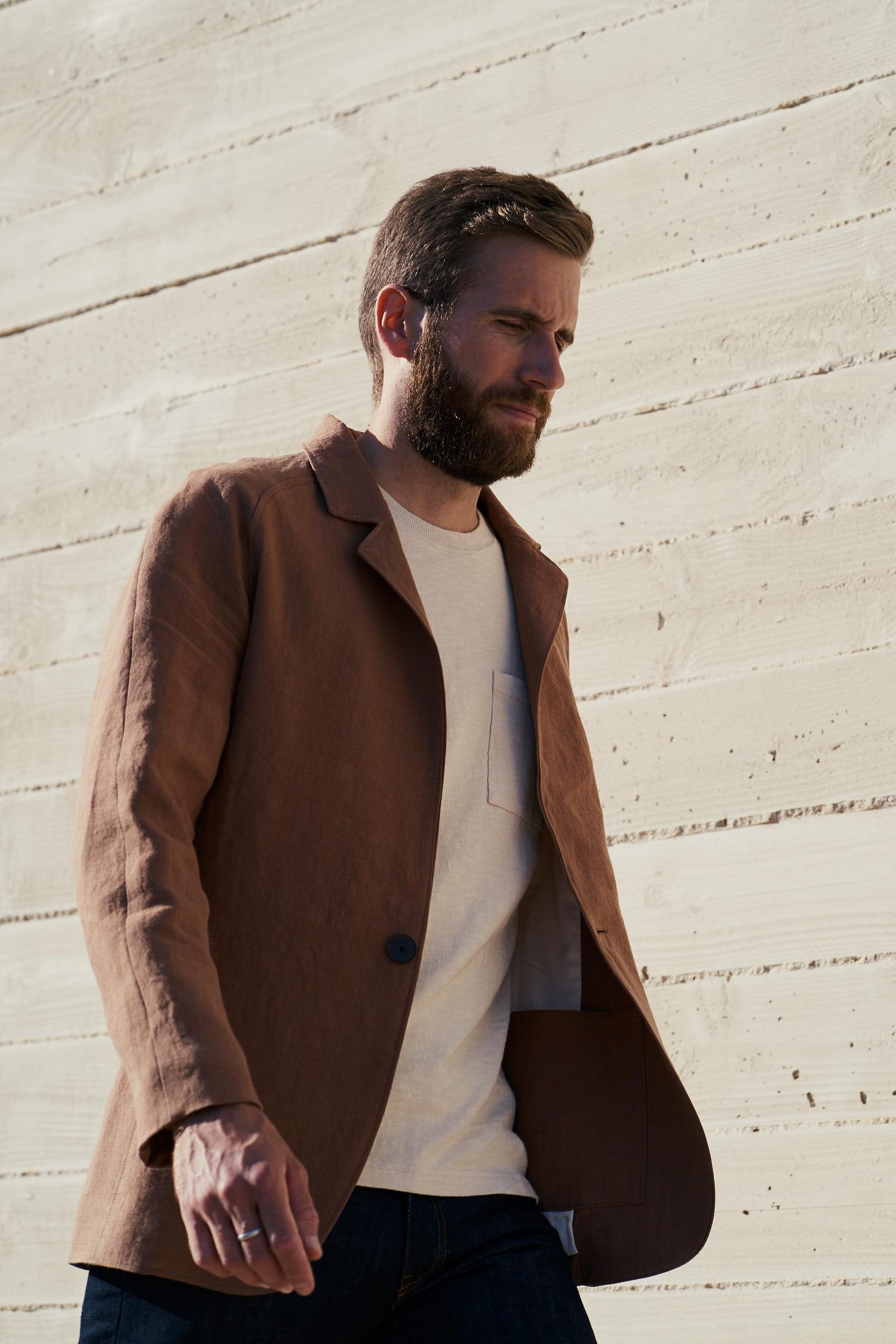 veste en lin belge couleur cognac fabriquée en France