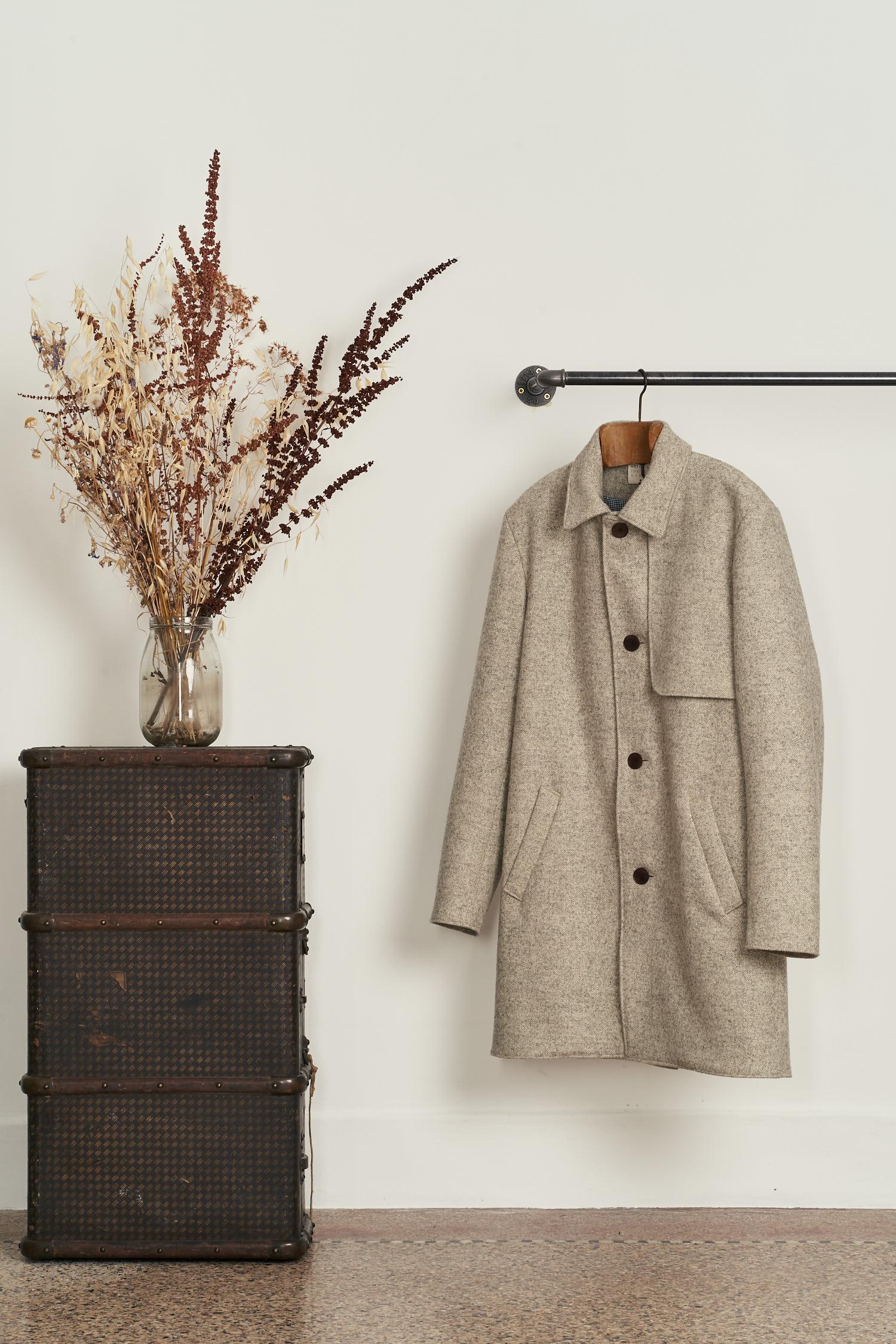manteau écru pour homme made in France avec chevrons