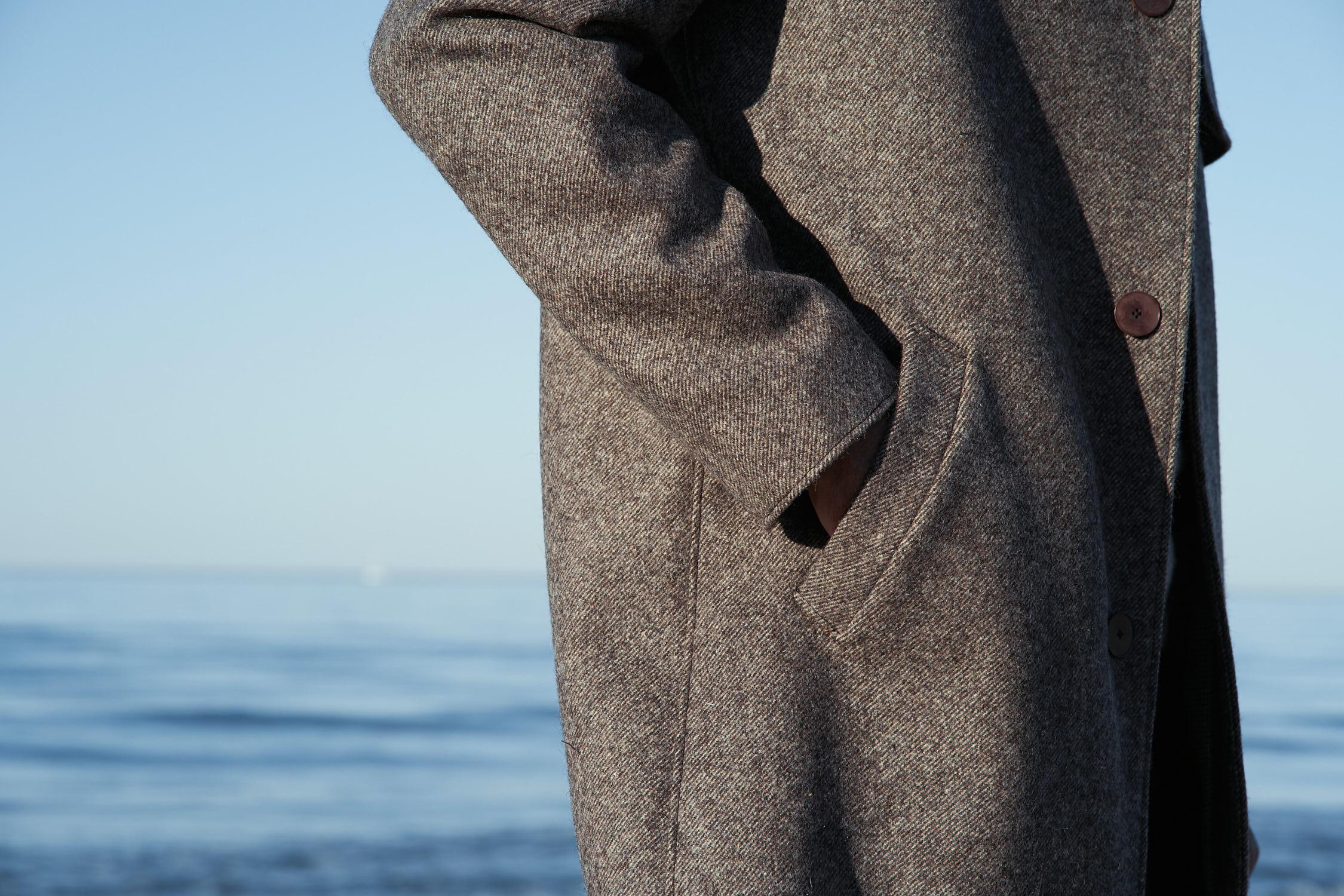Manteau chevrons marron en laines françaises pour homme Made in France