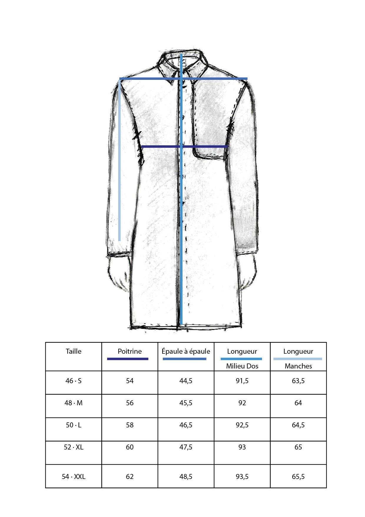 Guide des tailles du manteau made in France, du 46 au 54.