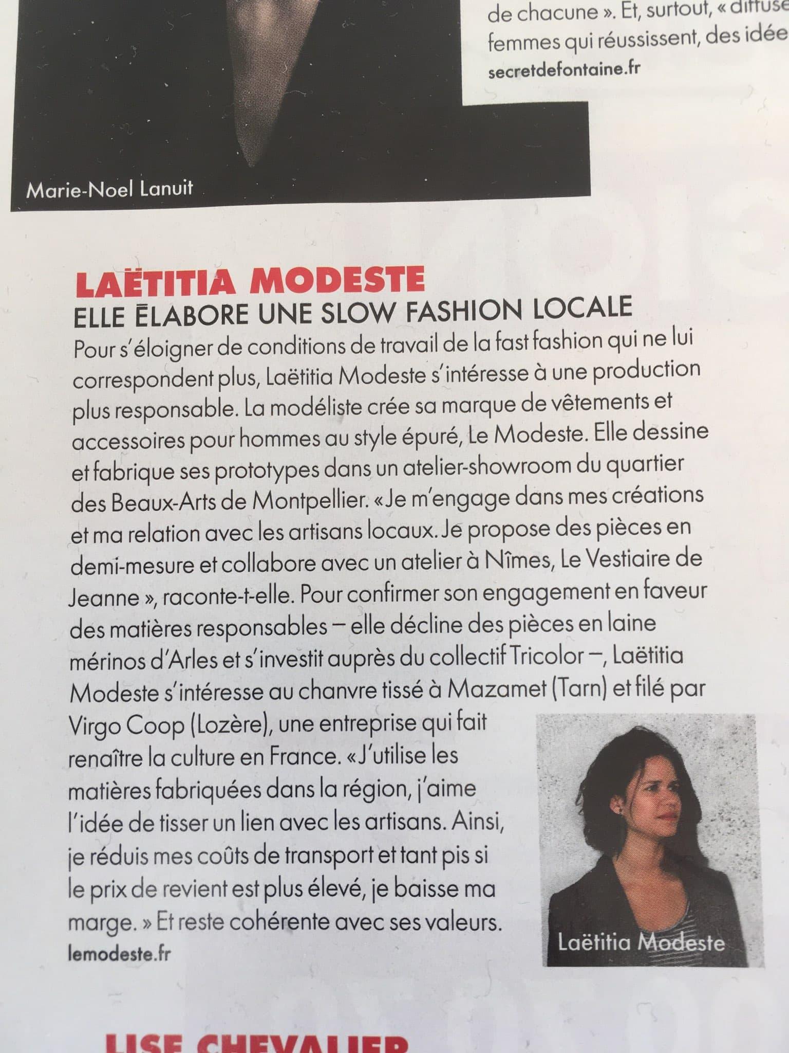 Article magazine ELLE sur Laetitia Modeste