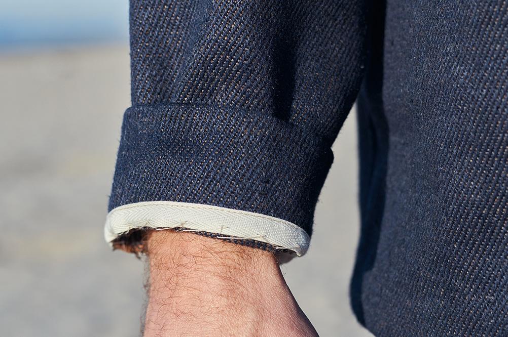 poignet vareuse en sergé jean chanvre et laines mérinos