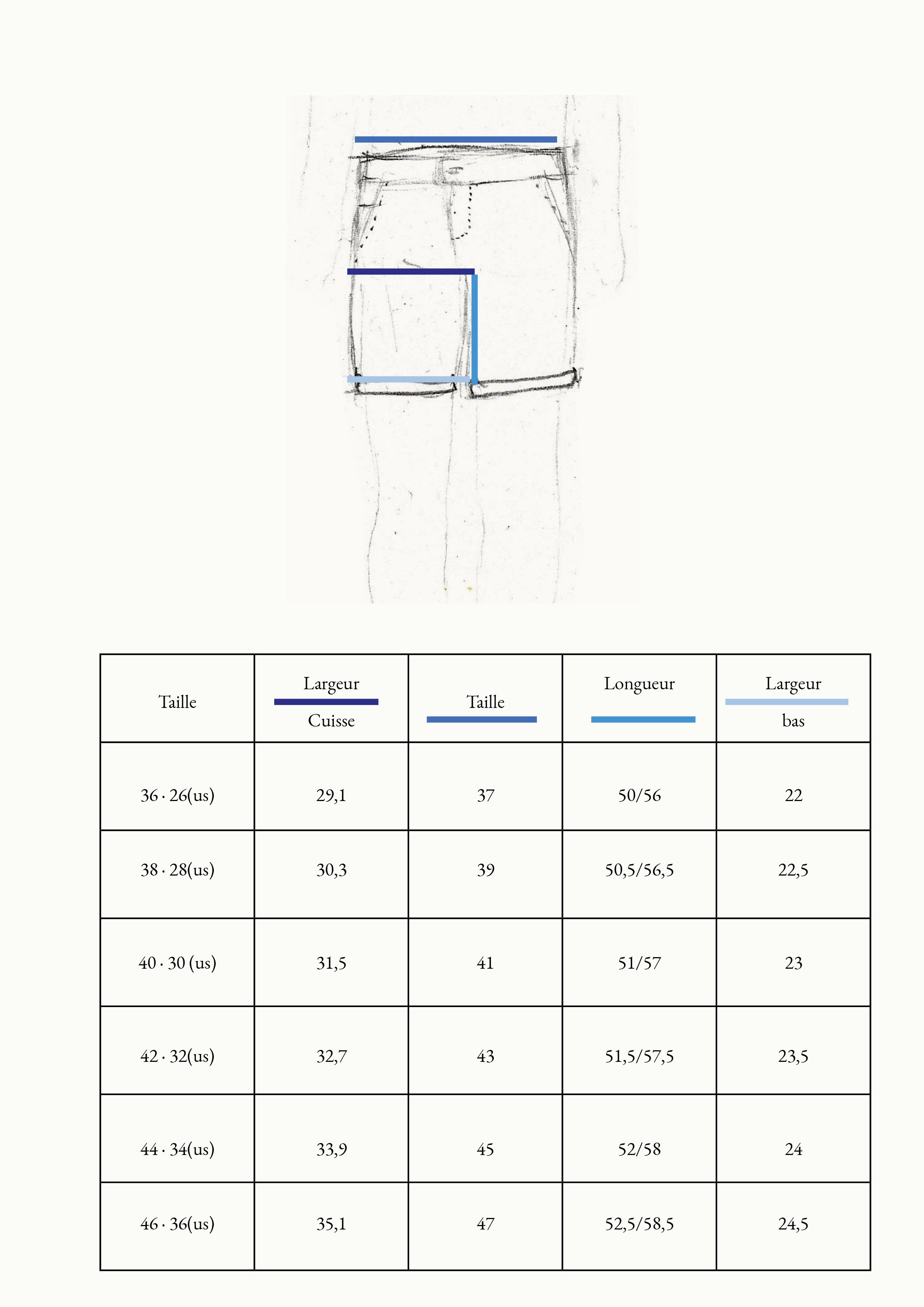 guide des tailles bermuda