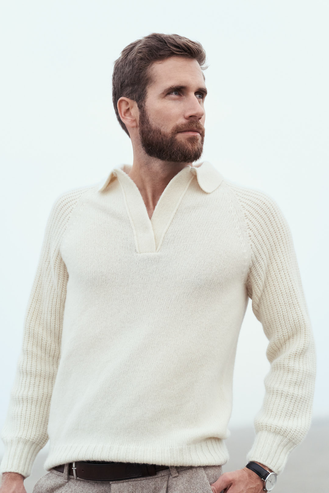 pull-over écru pour homme en laines de mérinos d'Arles fabriqué en France