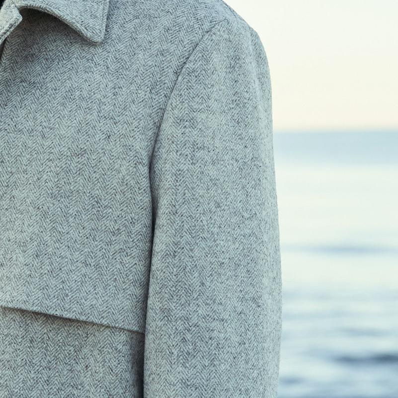 manteau laines françaises écru pour homme avec chevrons
