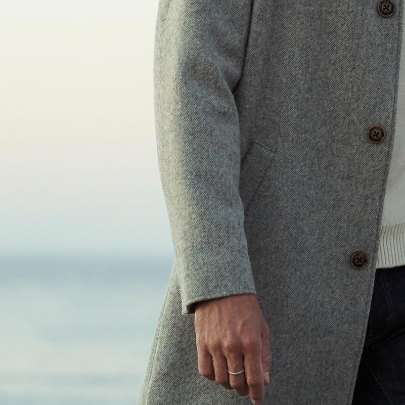 manteau laines françaises grispour homme avec diagonales