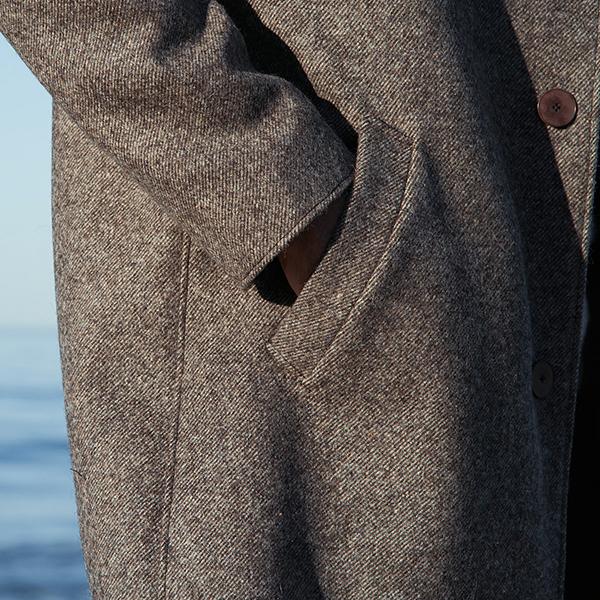manteau laines françaises marron pour homme avec diagonales