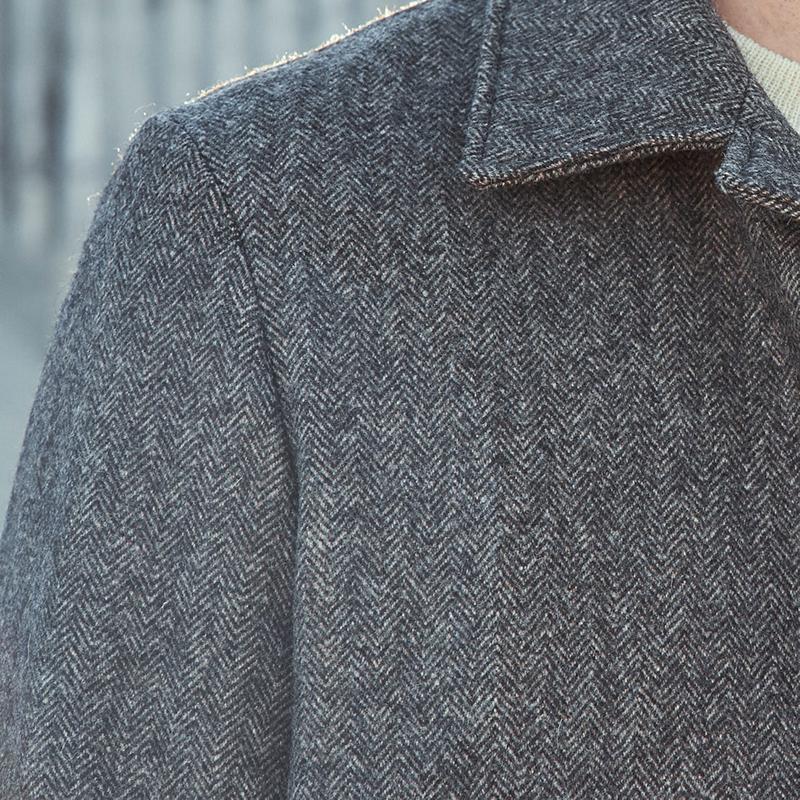 manteau laines françaises marron pour homme avec chevrons