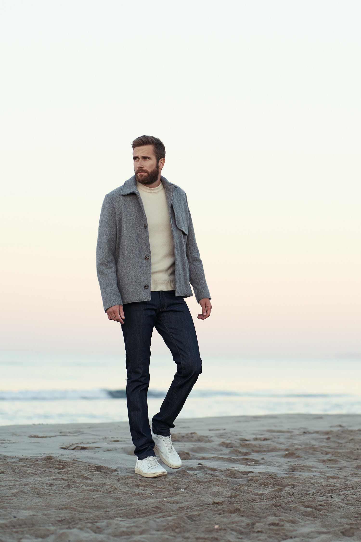 manteau court gris pour homme made in France