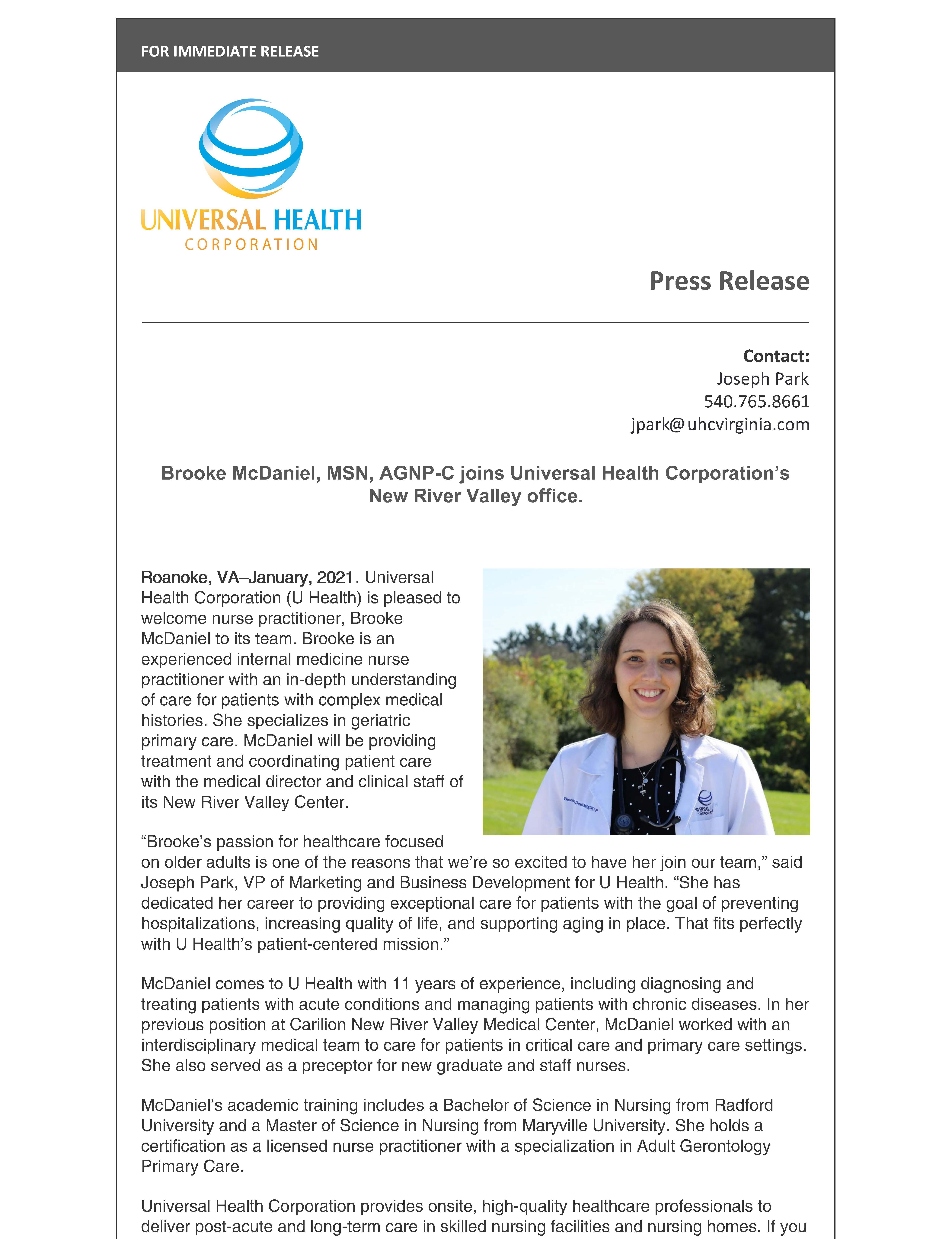 Press Release: Brooke McDaniel, MSN, AGNP-C joins Universal Health Corporation's New River Valley office.