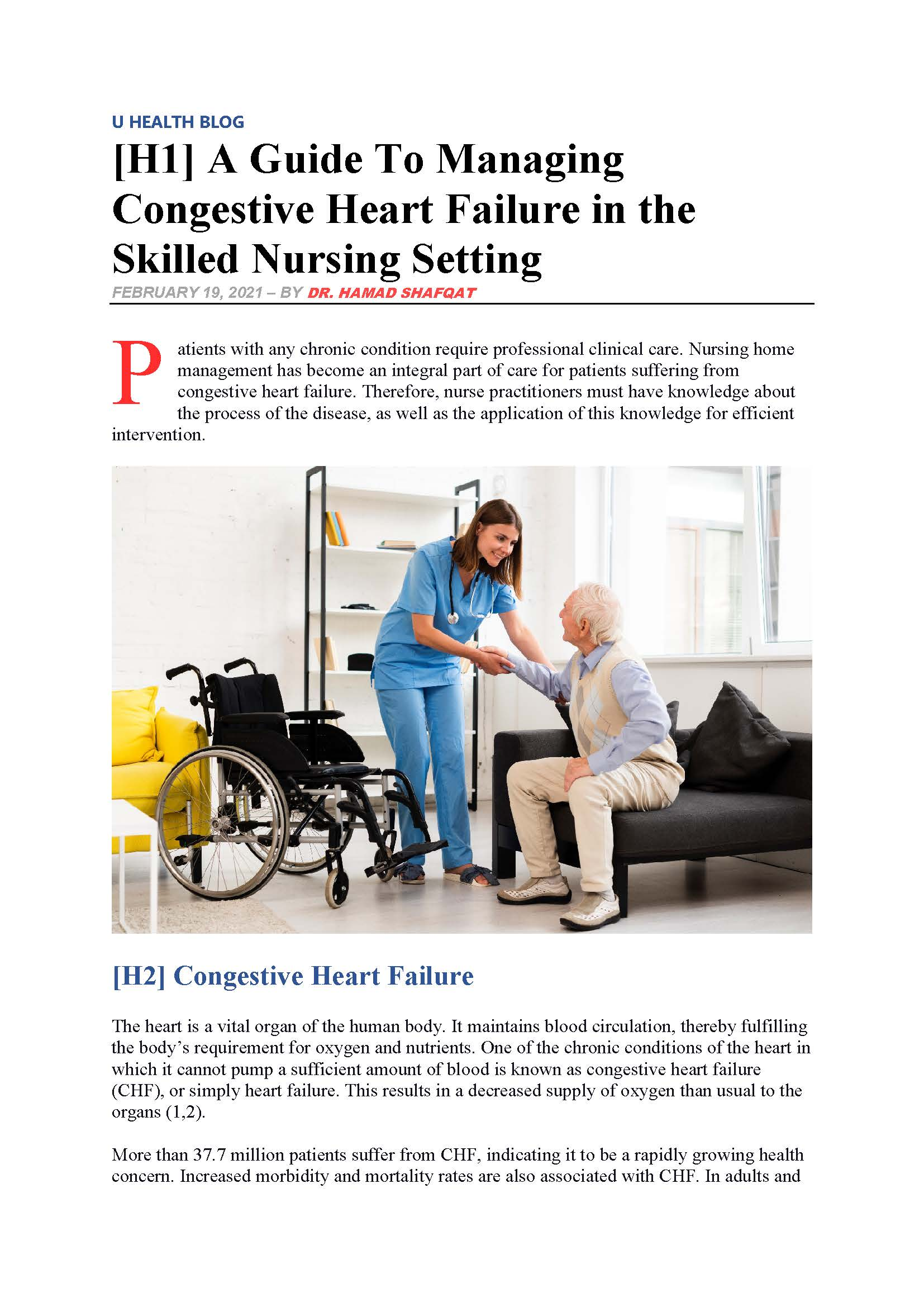 A Guide To Managing Congestive Heart Failure in the Skilled Nursing Setting