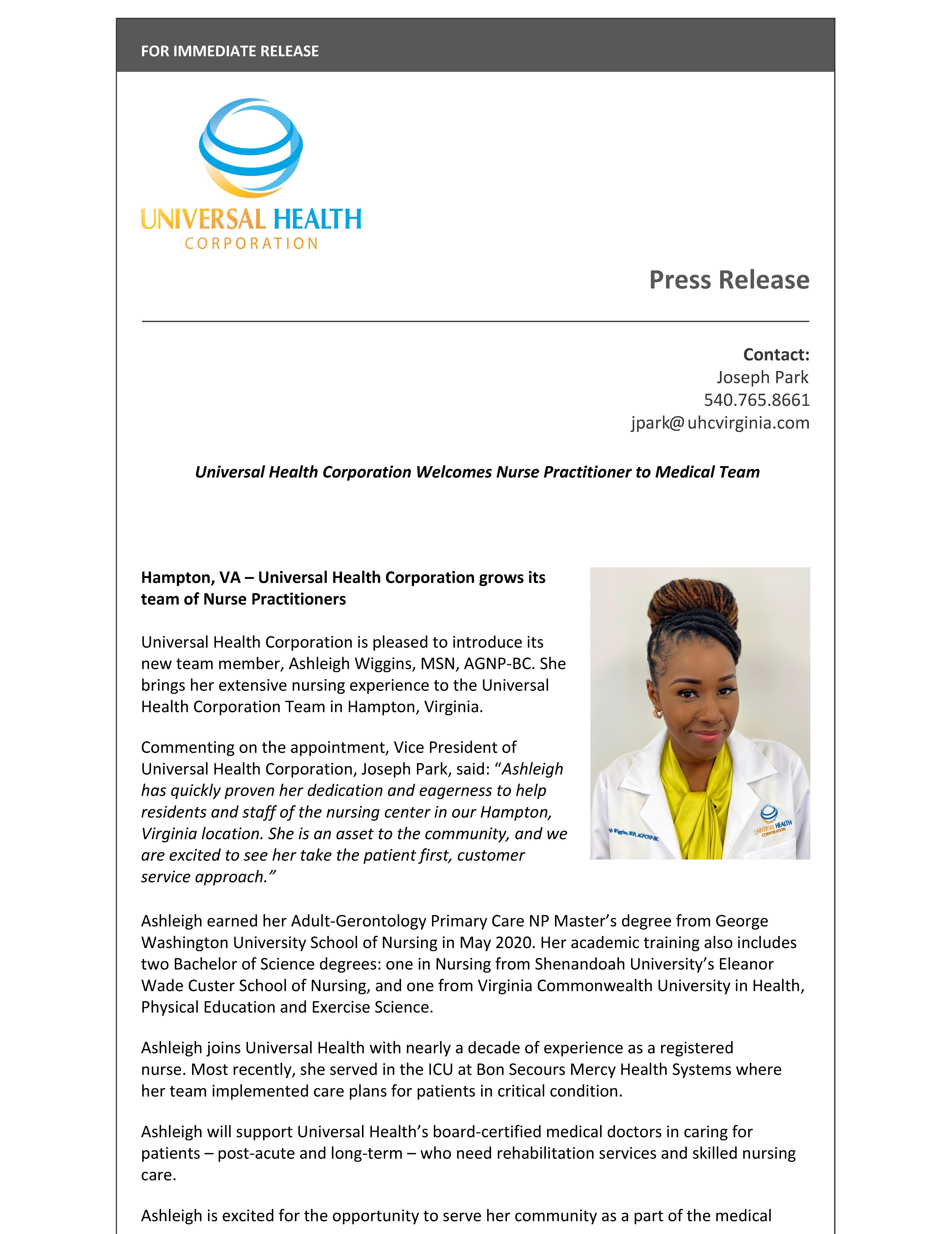 Universal Health Welcomes Nurse Practitioner Ashleigh Wiggins to Hampton, Virginia Medical Team