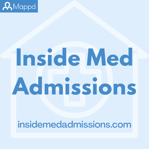 Artwork for Inside Med Admissions.  Top left corner has Mappd logo - a silhouette of a person and the word Mappd. Inside Med Admissions dot com
