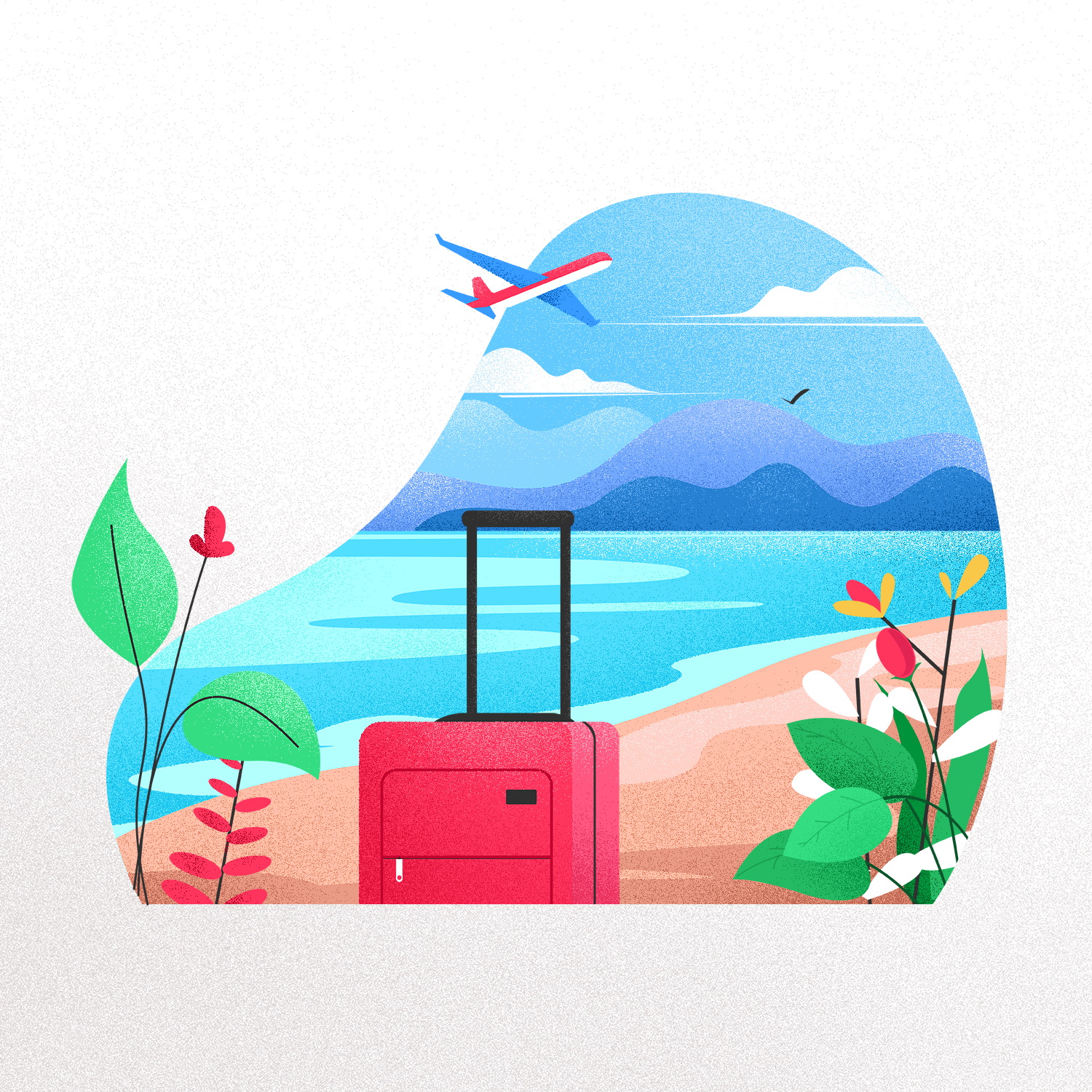 beach with a suitcase, and a plane in the background