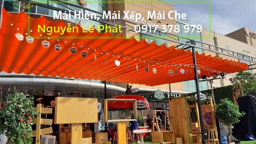 Giá làm mái bạt kéo xếp di động lượn sóng ngoài trời tại Hà Nội