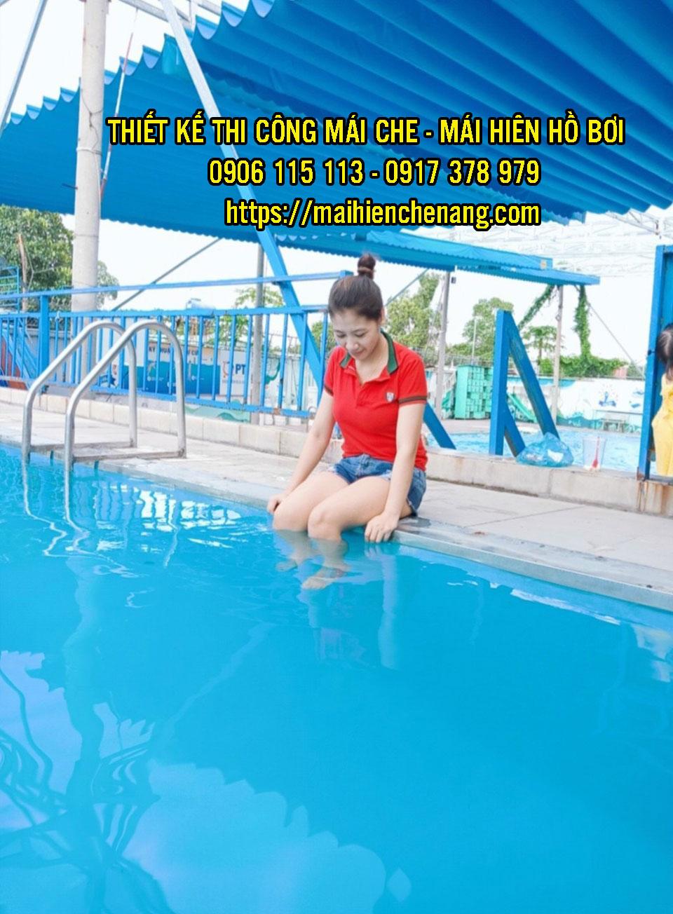 Bạt che nắng mưa hồ bơi, bạt mái xếp hồ bơi