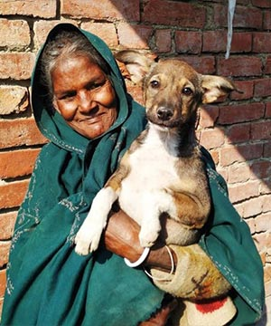 Indian Woman Holding a pup