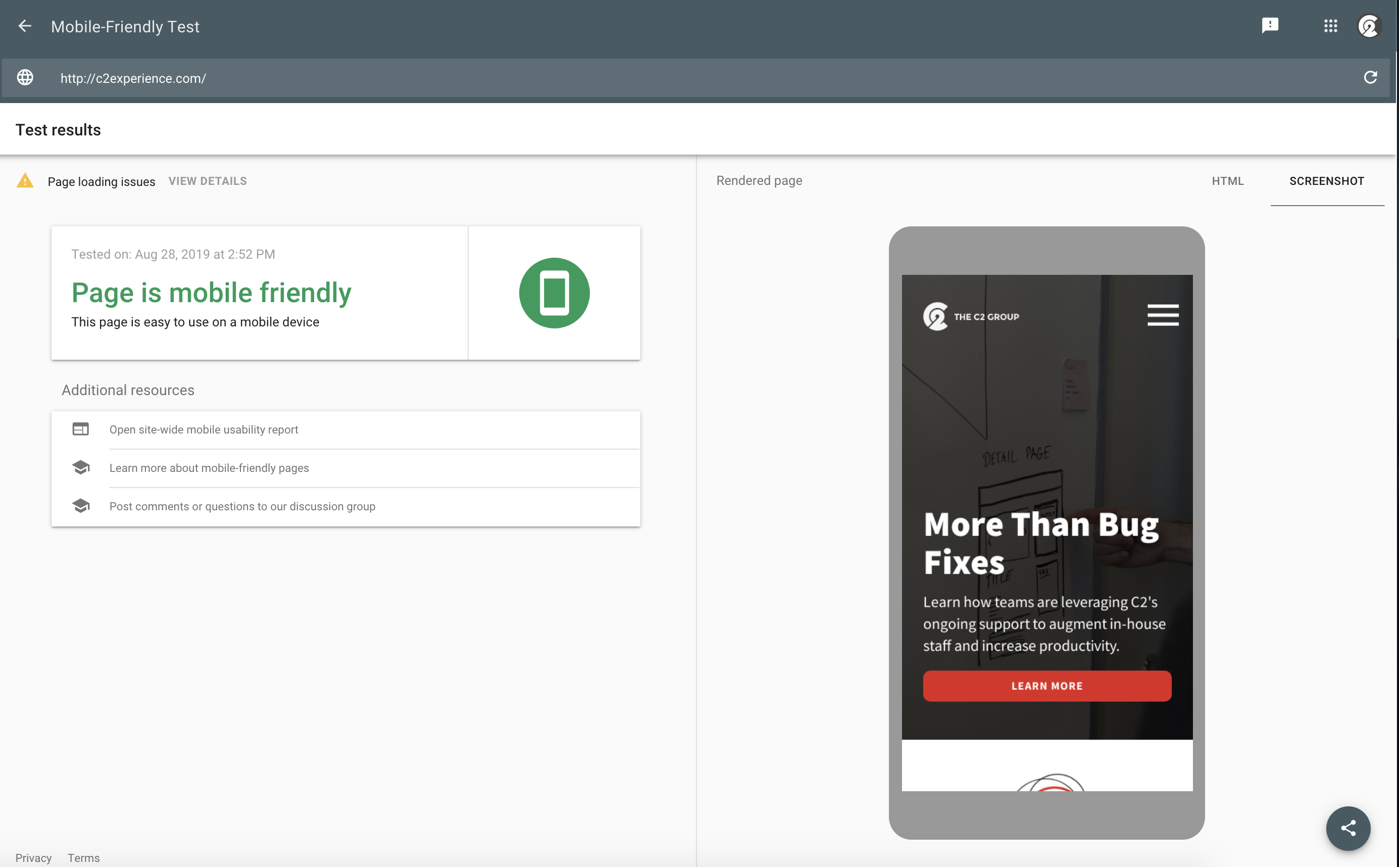 Screen grab of site assessment with Google's Mobile-Friendly Testing Tool.