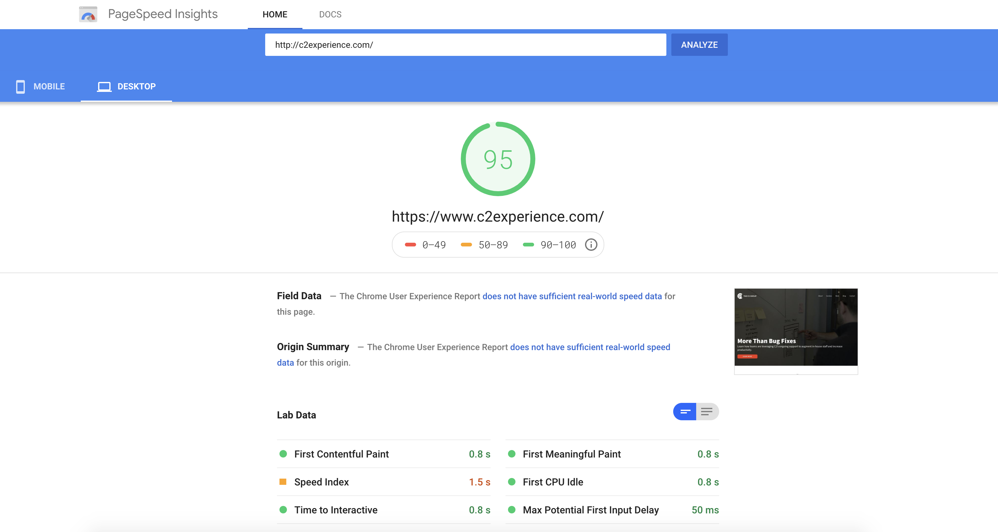 Screen grab of site assessment using Google's PageSpeed Insights tool.