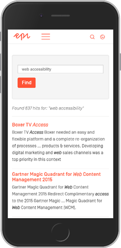 "4.1.3: Episerver's site gives the status update 'Found 637 hits for: ""web accessibility""' to alert users how many results of content were found for the search term."