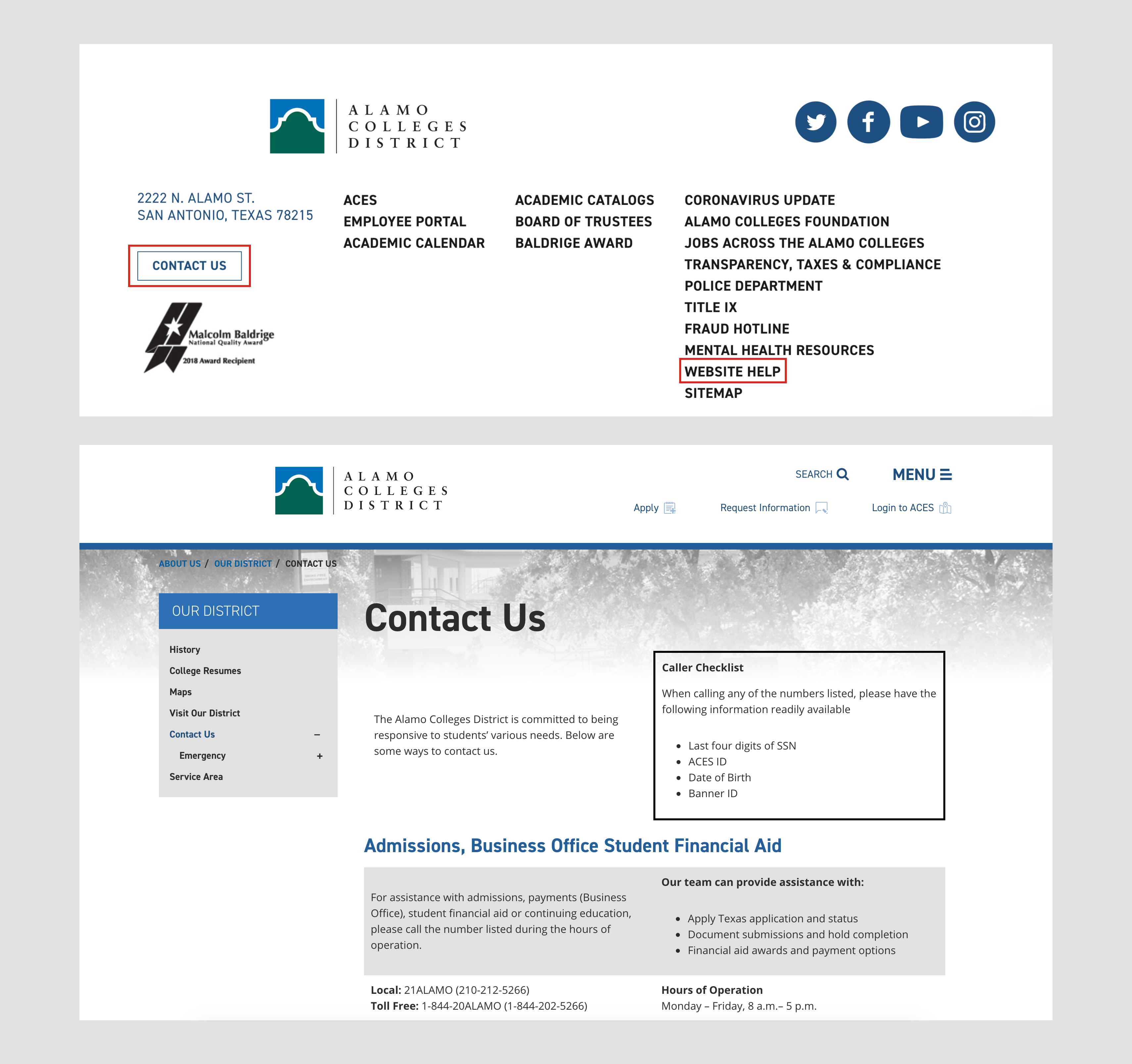 Screen grab of Alamo.edu website footer with highlighted red boxes around 'Contact Us' and 'Website Help' links, followed by a screen grab of the 'Contact Us' page.