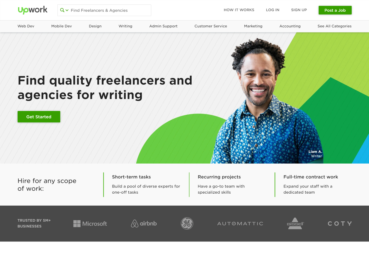 The homepage for UpWork, the 2nd top TextBroker competitor.