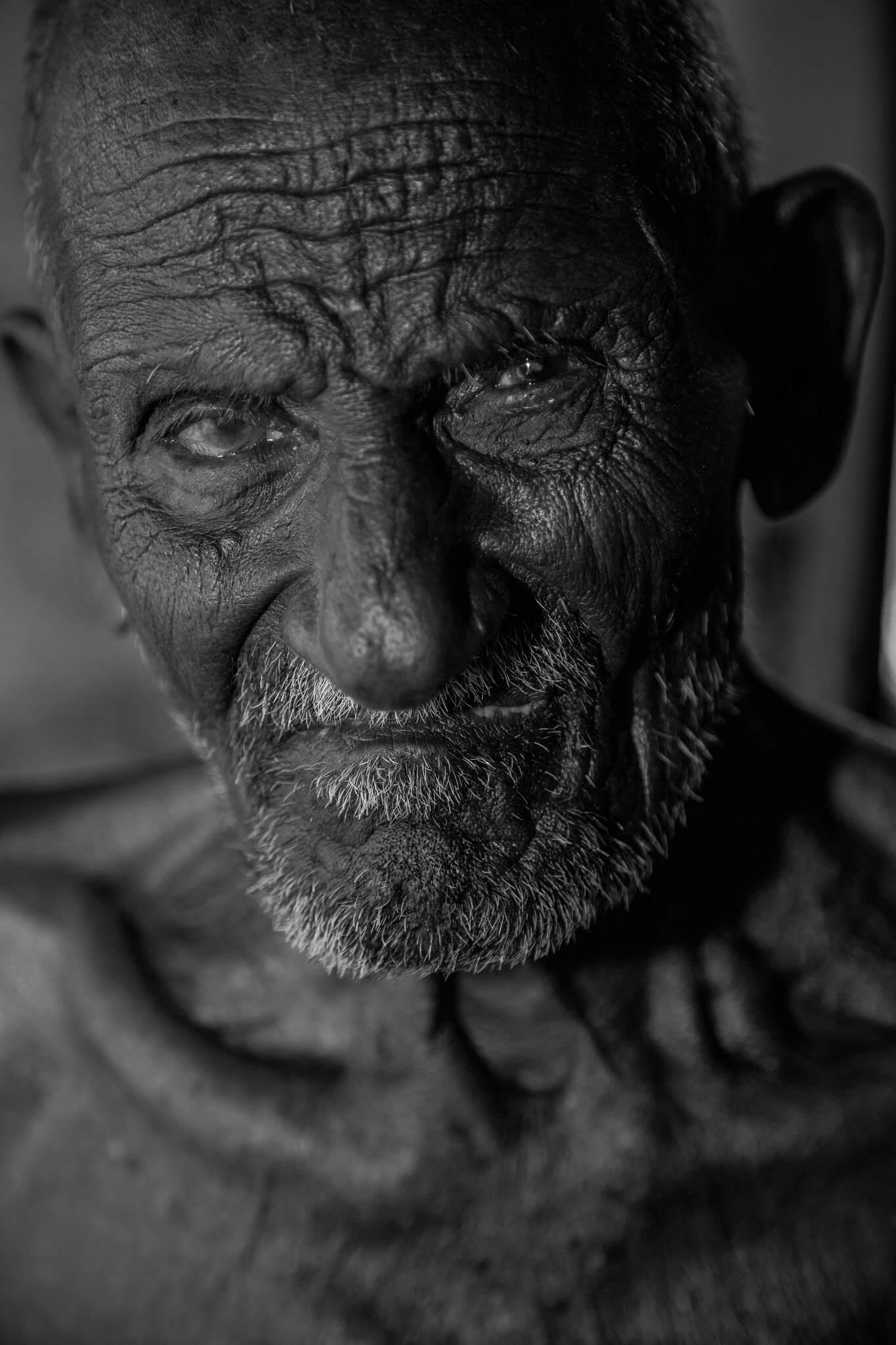 old man portrait BW