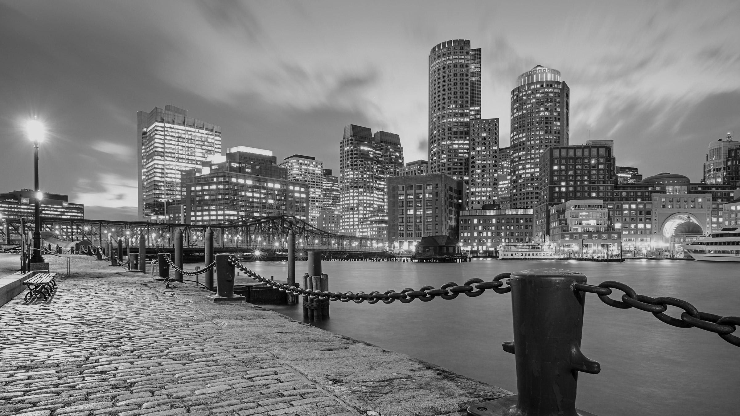 Boston Skyline view from across Boston Harbor.
