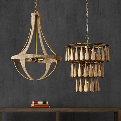 The Ibiza and Savoiardi chandeliers from Currey & Company are crafted from natural materials.