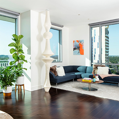 A modern apartment, brightly lit in the afternoon light.