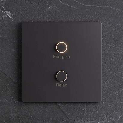 An Alisse two-button keypad from Lutron.