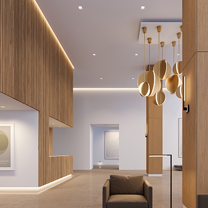 In this modern interior, linear LED lighting built into the ceiling and wall add points of interest and highlight the architecture.