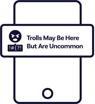 A prompt telling users that trolls may be there, but they are uncommon.