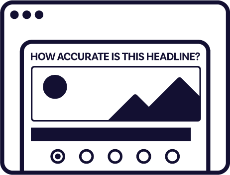 A mockup of a prompt asking users to rate the accuracy of a headline on a scale of 1-to-5.