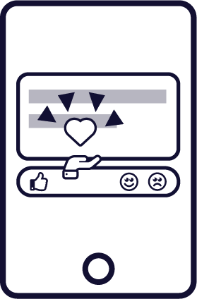 A mockup of a react button. The platform's 'Thanks' icon is emphasized.