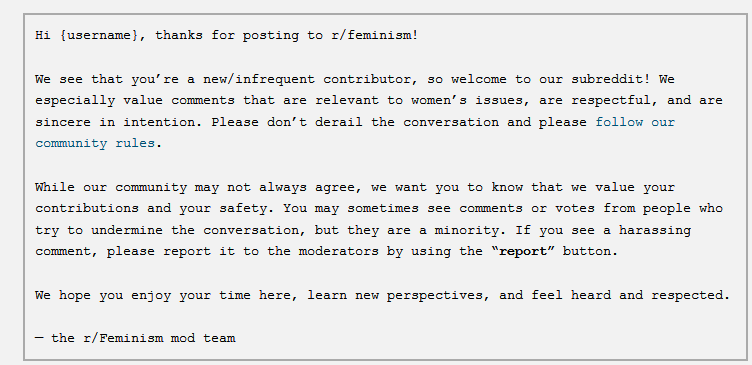 Screenshot of welcome message from r/feminism