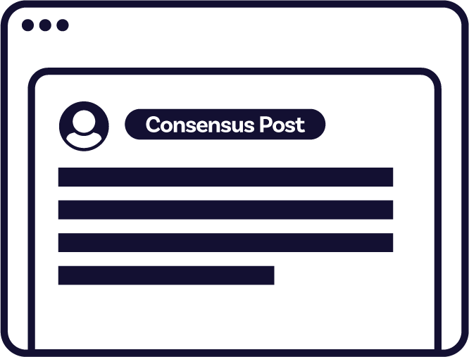 "A mockup of a comment. Next to the user's profile picture, there's a rounded token that calls attention to its being a ""Consensus Post""."