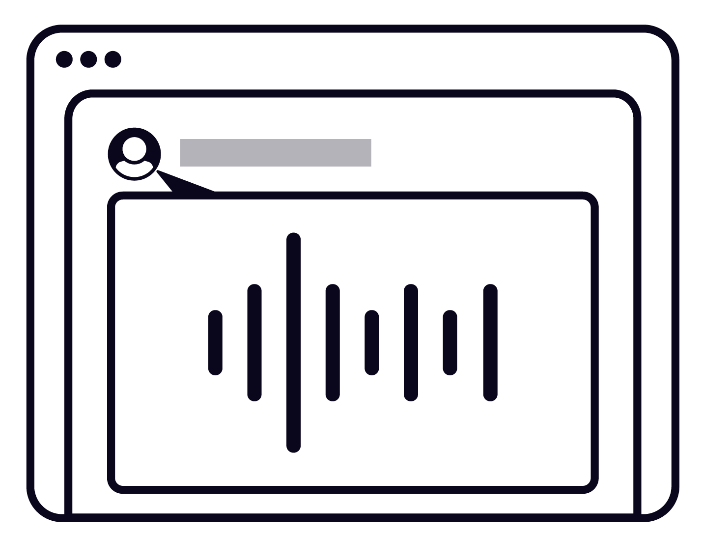An expanded modal box, which conveys the concept of listening to a recording of someone else's voice.