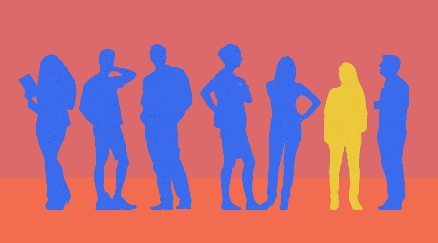 People standing in a row, one is silhouetted out to evoke the concept of individuality.